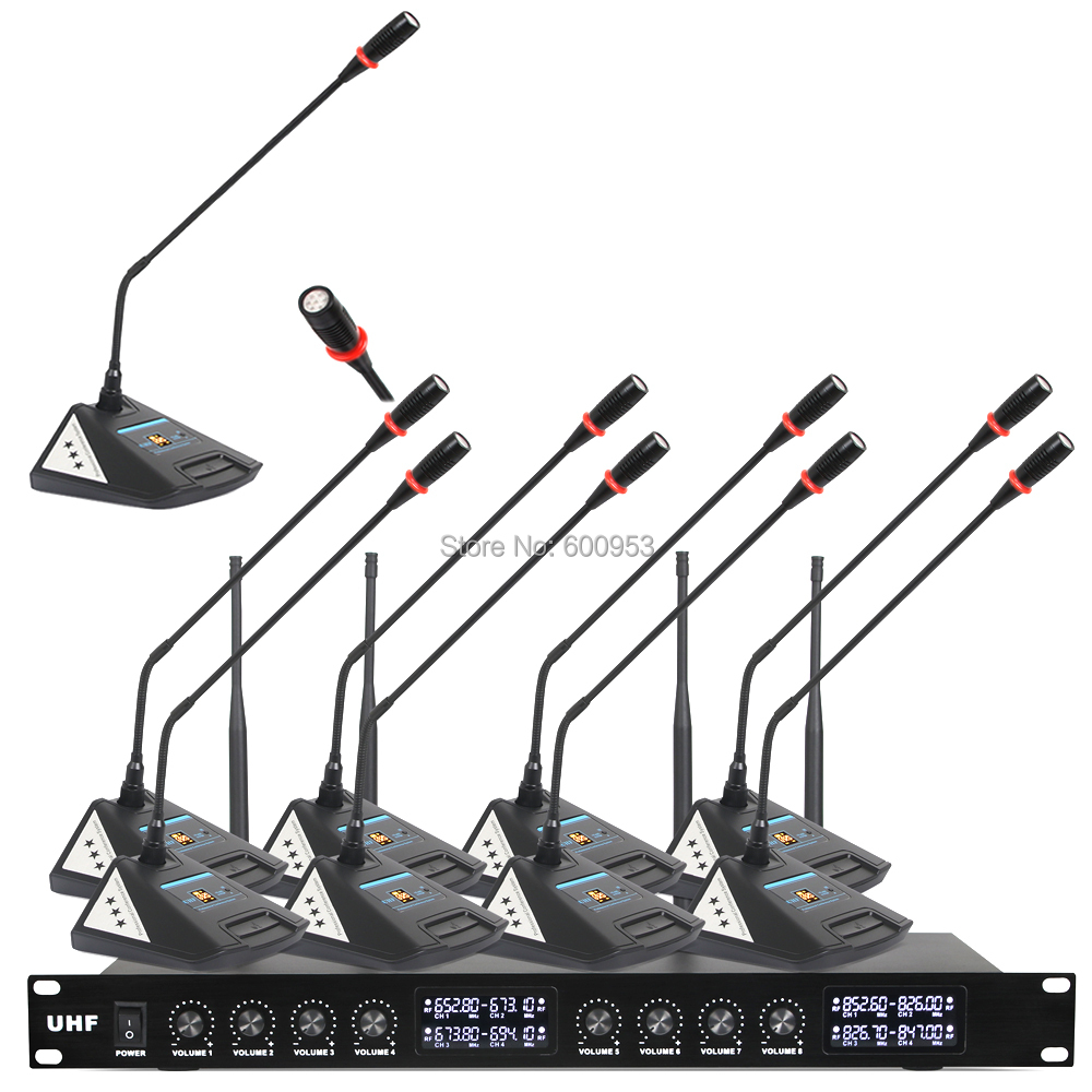 MiCWL Audio New upgrade 8 Desk Wireless Digital Conference Meeting Room Microphone System 8 Table Mic Unit V800 in Microphones from Consumer Electronics