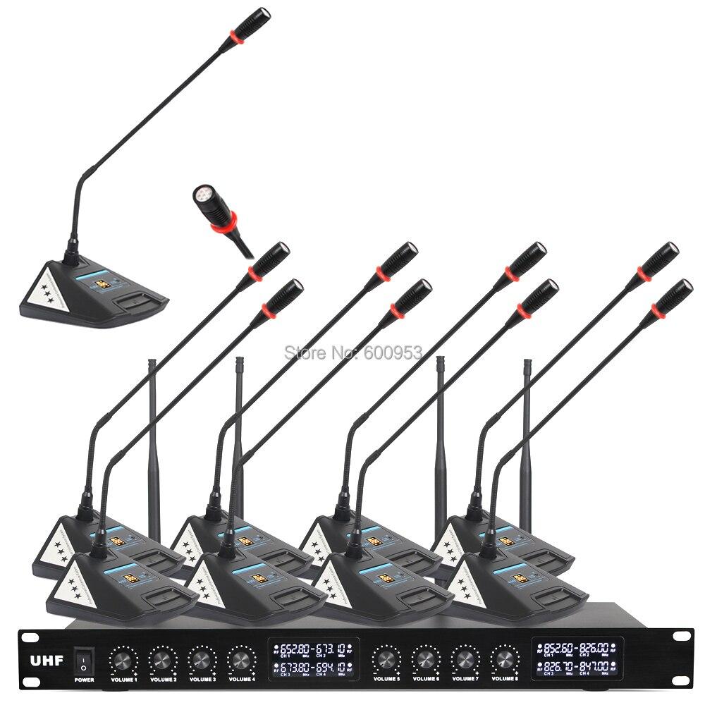 MiCWL de Áudio Nova atualização 8 8 Mesa Sala de Reunião Da Conferência Digital Sem Fio Sistema de Microfone Microfone de Mesa Unidade V800