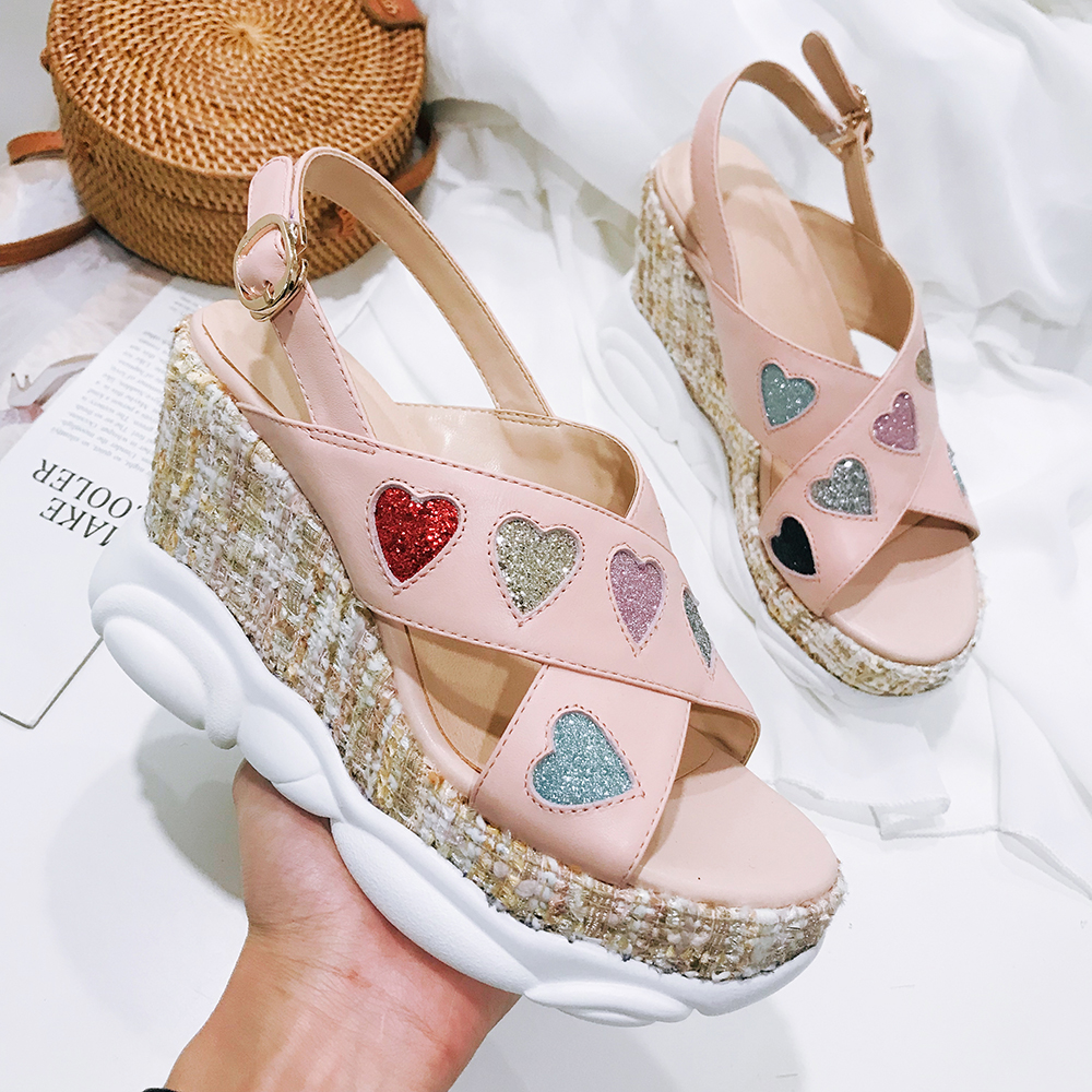 Moraima Snc 2019 White Pink Colorful Heart-shaped Decor Woman Summer Shoes Thick Sole Flatform Shoes Fashion Sandals 10cm HeelsMoraima Snc 2019 White Pink Colorful Heart-shaped Decor Woman Summer Shoes Thick Sole Flatform Shoes Fashion Sandals 10cm Heels