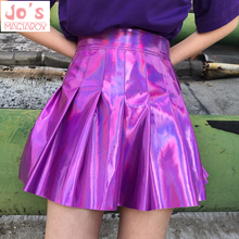 d89c65aa3a Holographic Pleated Skirts Women PU Solid Harajuku Casual Sexy Laser Hight Waist  Mini Short Skirt Women. 3 Colors Available