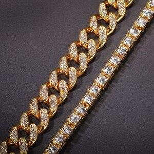 Image 2 - UWIN 2 القلائد الأزياء الهيب هوب مجوهرات 13 مللي متر الكوبي ربط سلسلة مع 5 مللي متر مثلج خارج الراين تنس سلاسل الذهب قلادة ملونة