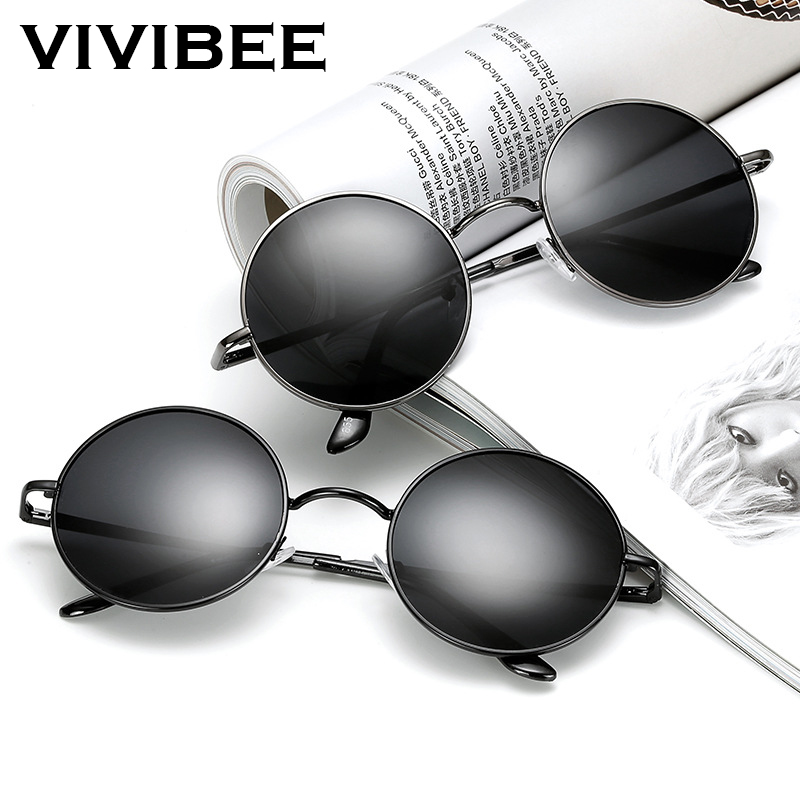 VIVIBEE Classic Polarized Round Metal Sun Glasses Casual Sunglasses For Women Retro UV400 Men Black Shades 2019 Trend Eyewear