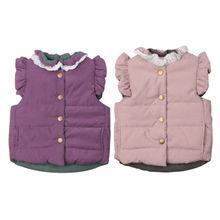 Зимний детский хлопковый, для новорожденных девочек с кружевными вставками и Однотонный жилет пальто жилет теплый Изящная верхняя одежда симпатичная одежда От 0 до 4 лет