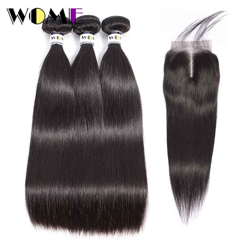Brazilian Straight Hair Bundles With Closure 3 Bundles With 4x4 Lace Closure Medium Brown Three Middle