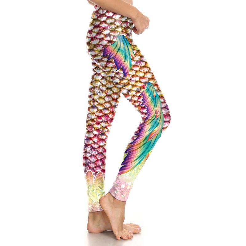 Ms. Original Design Mermaid Leggings Fashion Personality Characteristics 3D Digital Print Fish Scale Cropped Pants