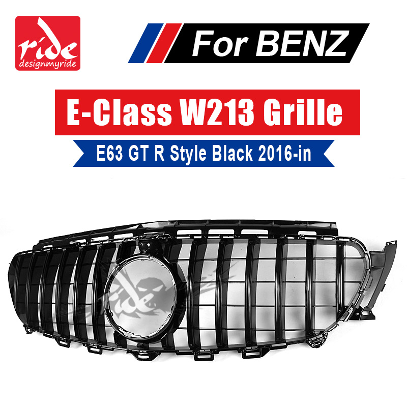 GT R Style Grille W213 Sport E63AMG Look ABS Black With camera For Mercedes E class E200 E250 E300 E350 grills Without sign 16+ image