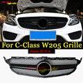 W205 передняя решетка ABS глянцевый черный спортивный бампер для MercdesMB c180 c200 c250 c300 c350 c400 Передние решетки без эмблемы 2015-18