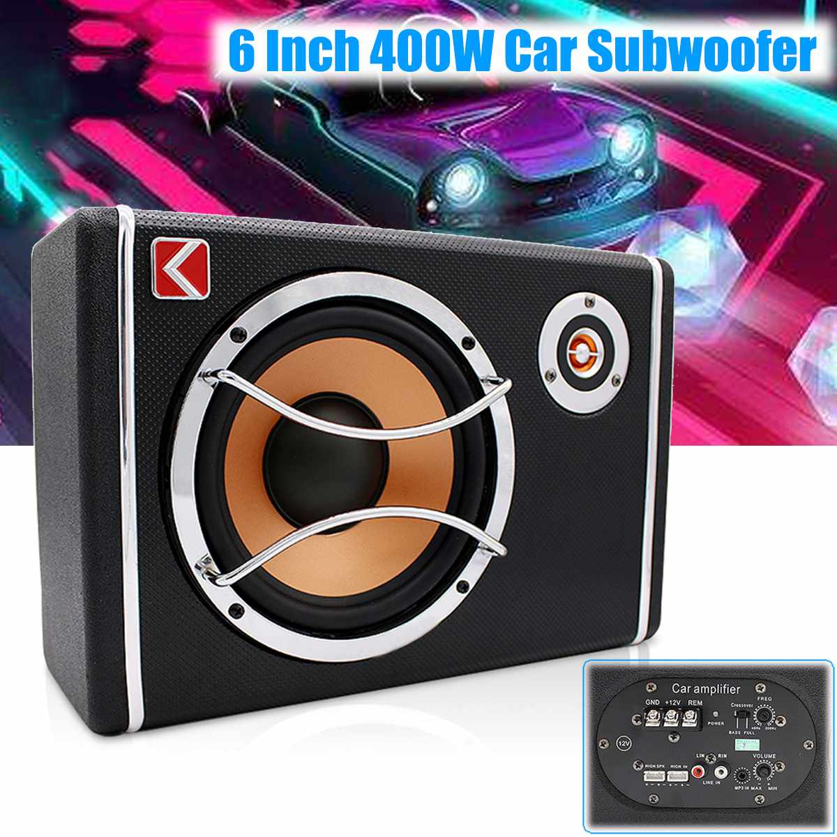 6 Inch 400W 12V Car Subwoofer Under Seat Sub Audio Speaker Music System Sound Car Speakers