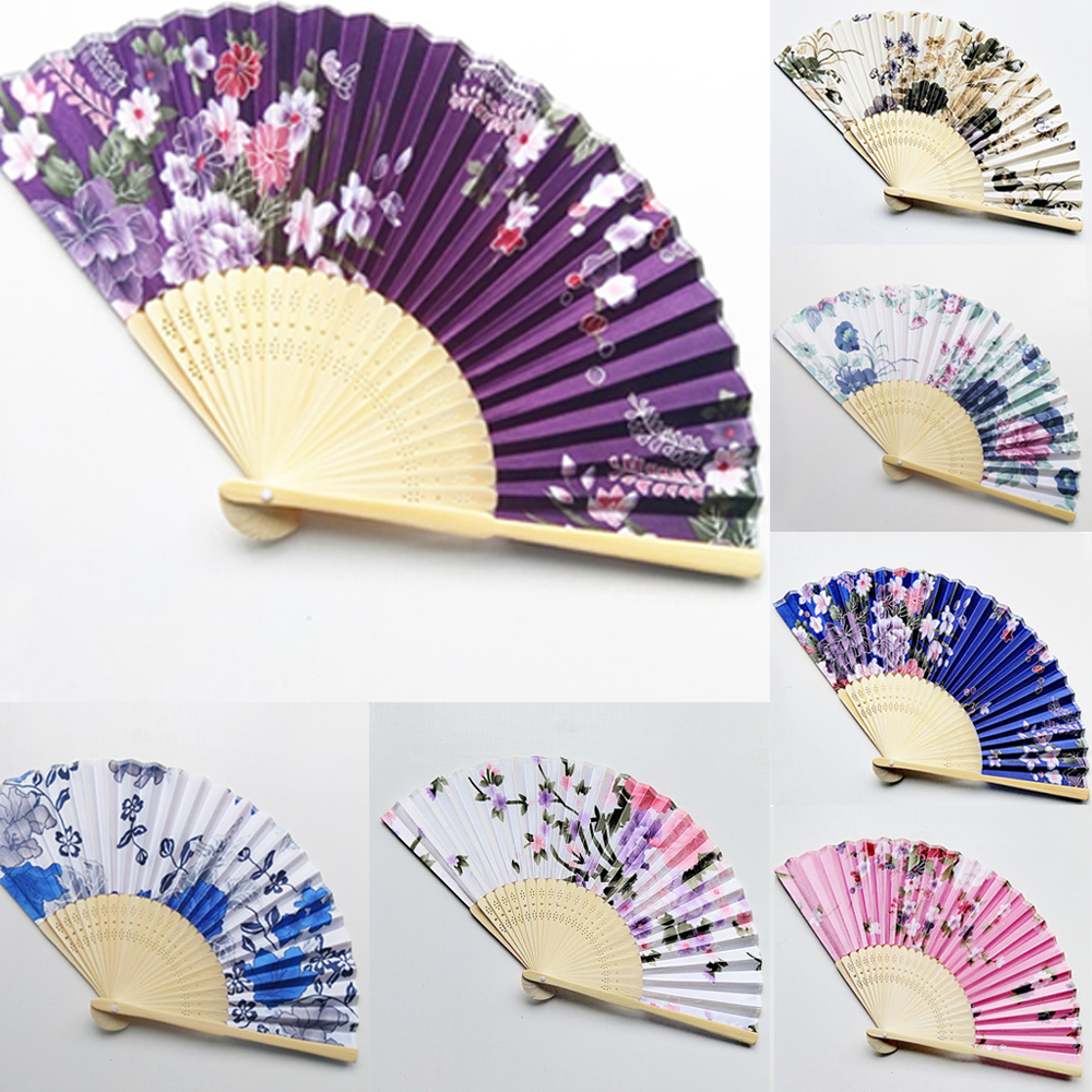 7 Colors Fashion Chinese Japanese Folding Fan Hand Hold Flower Fan Cherry Blossom Pocket Women Hand Fan Summer Art Craft Gifts