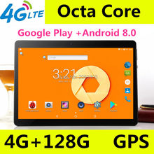 "Gratis 10.1 Inch Tablet 3G 4G LTE Android 8 Phablet Tablet PC Tab Pad 10 ""IPS MTK octa Core 4 GB Ram 128 GB ROM WIFI Bluetooth GPS(China)"