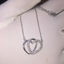 New Arrivals 925 Sterling Silver Double heart Necklaces & Pendants For Women Hot Fashion sterling-silver-jewelry