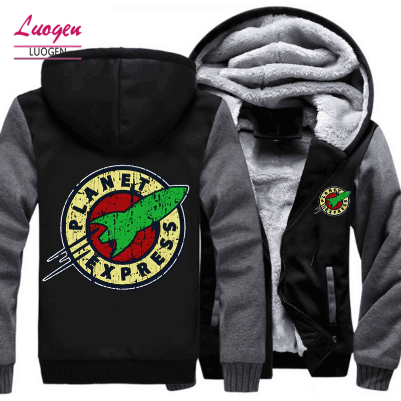 Lassen sie verschiffen USA Größe Erwachsene Männer Frauen Planet Express Verdicken Hoodie Zipper Mantel Winter Fleece Warme Mit Kapuze Jacken Kostenloser versand