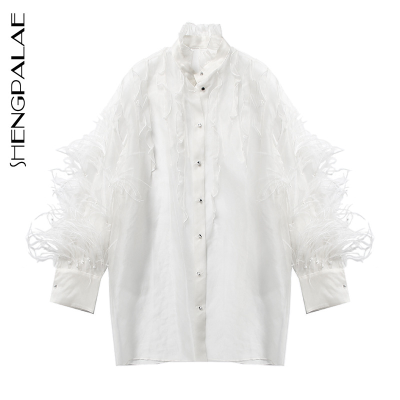 SHENGPALAE 2019 New Summer Spring Female Top Stand Collar Long Sleeve Stitching Feather Loose Fashion Women