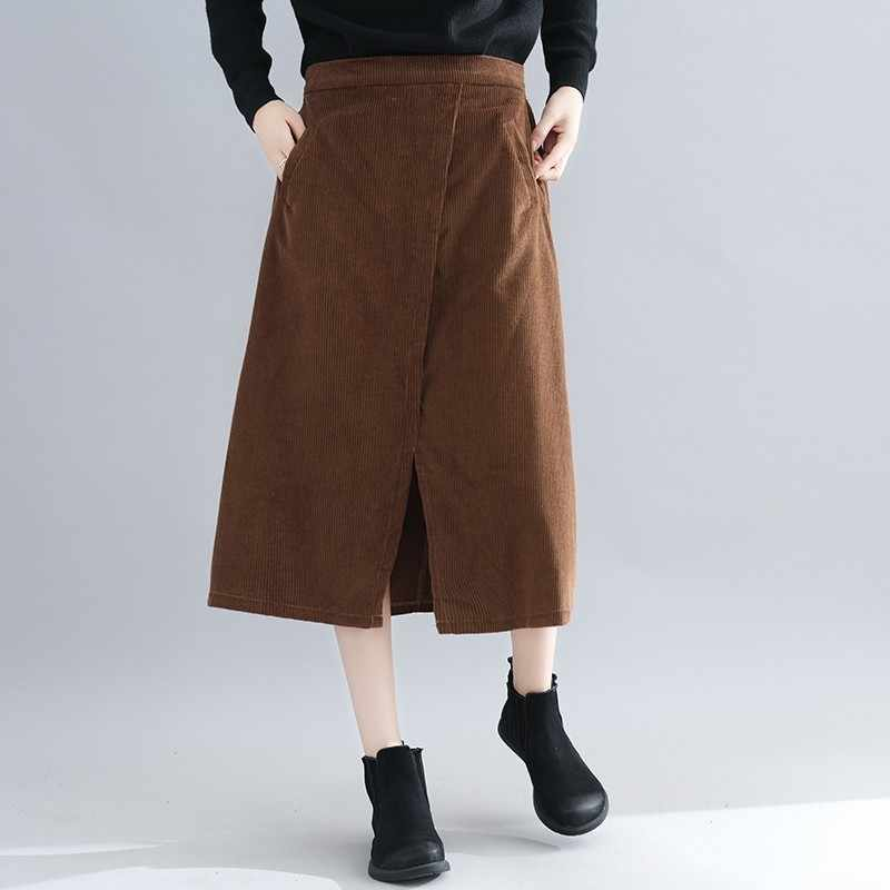 f84b0362b1 BUYKUD Women Solid Color Corduroy Half-body Skirt Spring Autumn 2019 New  Korean Easy Literature