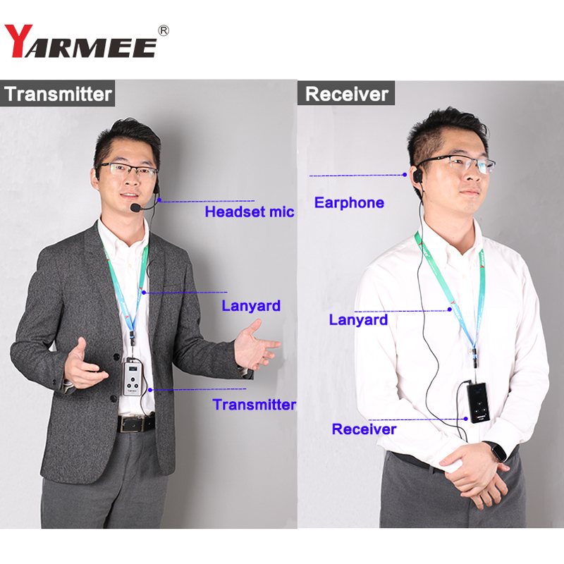10 Receivers with Earphones Wireless Tour Guide System YARMEE YT200 Audio Guide for Museum,Church