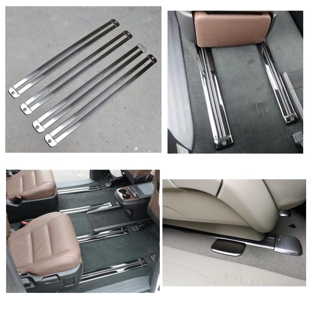 16Pcs Set Car Seat Rail Sliding Track Decorative Anti slip Strip Stainless Steel Trim Strip Cover
