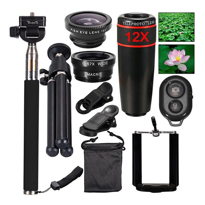 Купить Топ Travel Kit 10 in1 аксессуары телефон Камера Kit объектив 12x зумом телескоп для iPhone 7 8 P для samsung Galaxy NOTE Смартфон LG на Алиэкспресс