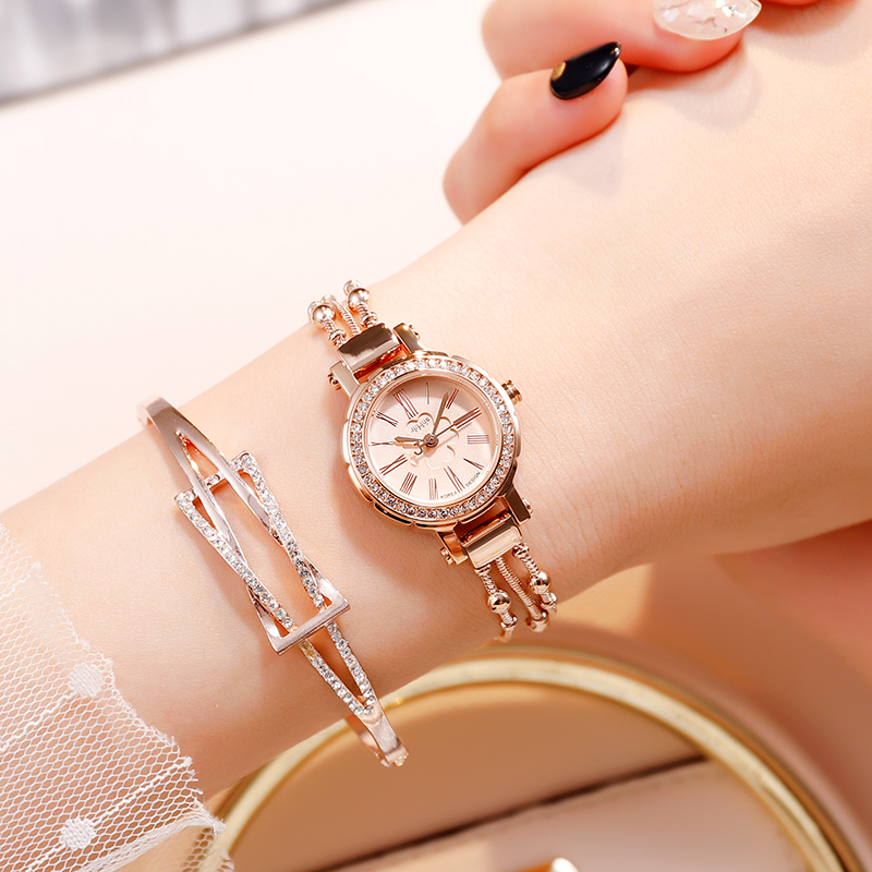 Julius Women Ladies Watch Stainless steel Strap Waterproof Rhinestone Luxury Thin Watch Casual Fashion Simple clock