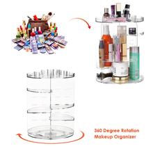 Transparent Makeup Organizer 360 Degree Rotation Multi-Functional Cosmetics Storage Box DIY Adjustable Height Cosmetics Rack