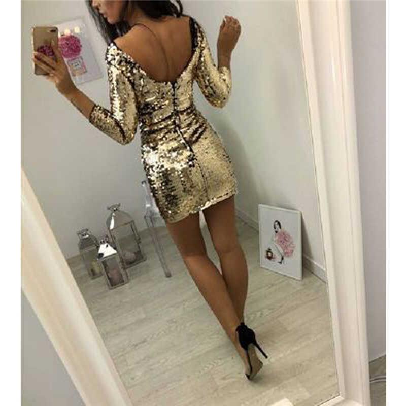 สุภาพสตรีชุดราตรีเซ็กซี่ Sequin Club ชุดเดรสสั้นเซ็กซี่ Vestidos ชุดฤดูใบไม้ร่วงผู้หญิง Golden Sequins Bodycon DRESS