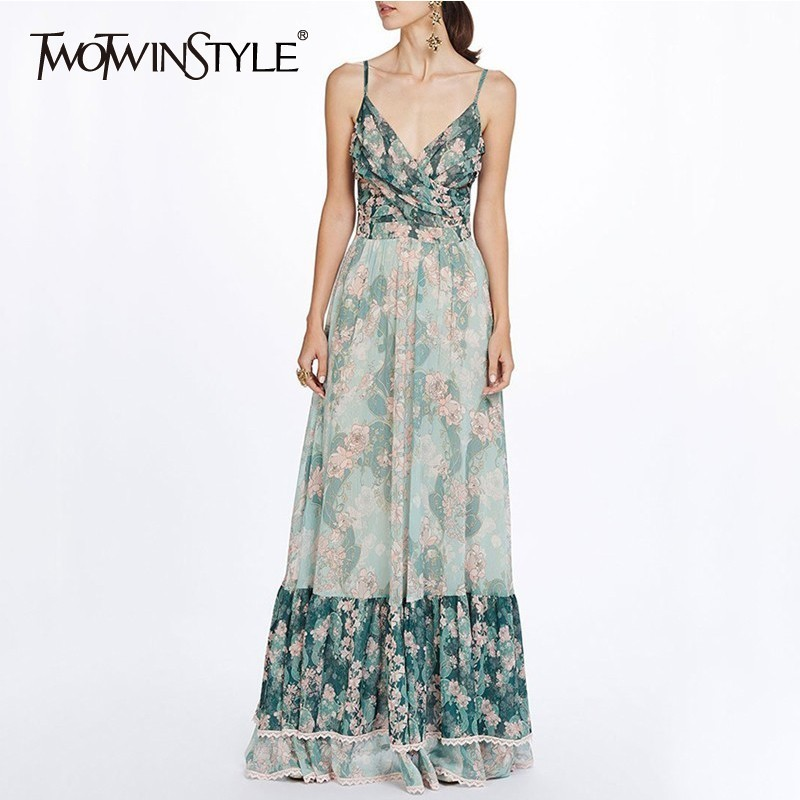 TWOTWINSTYLE Patchwork Print Dresses Women V Neck Sleeveless High Waist Maxi Pleated Dress Female Casual Fashion