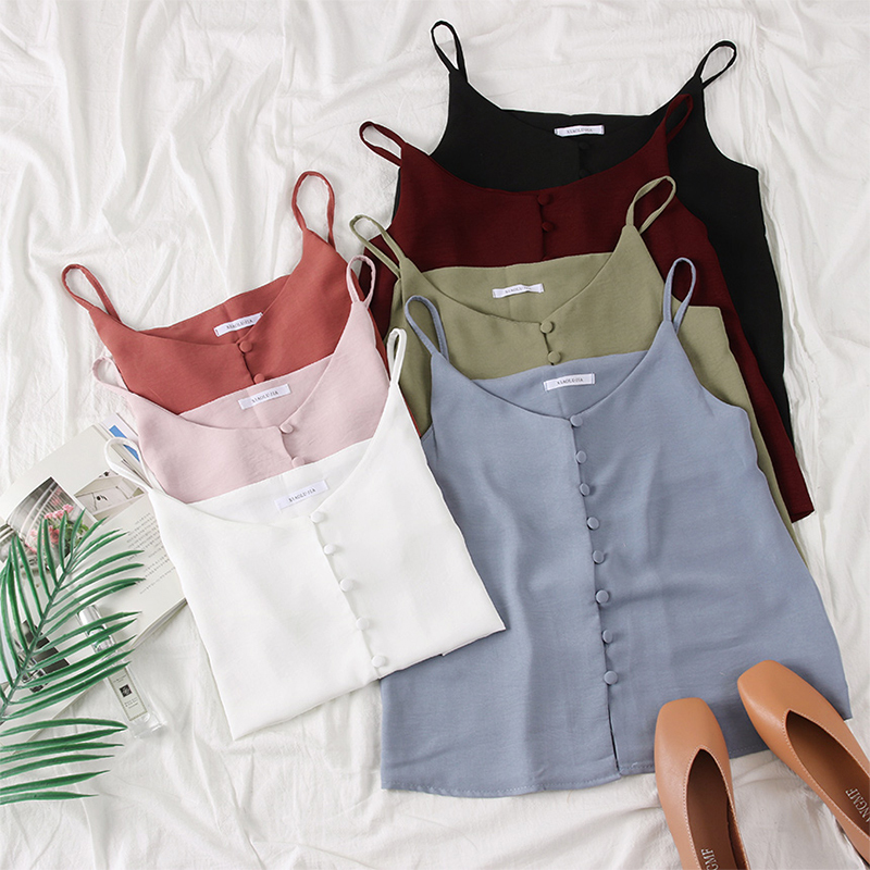 2019 Summer Women Candy Color   Tank     Tops   V-neck Buttons Solid Color Camis   Tops