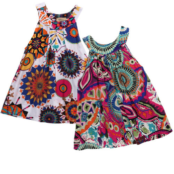 dress  Kid Baby Girl Summer floral print  Dress Princess Party Pageant sleeveless Dresses girl