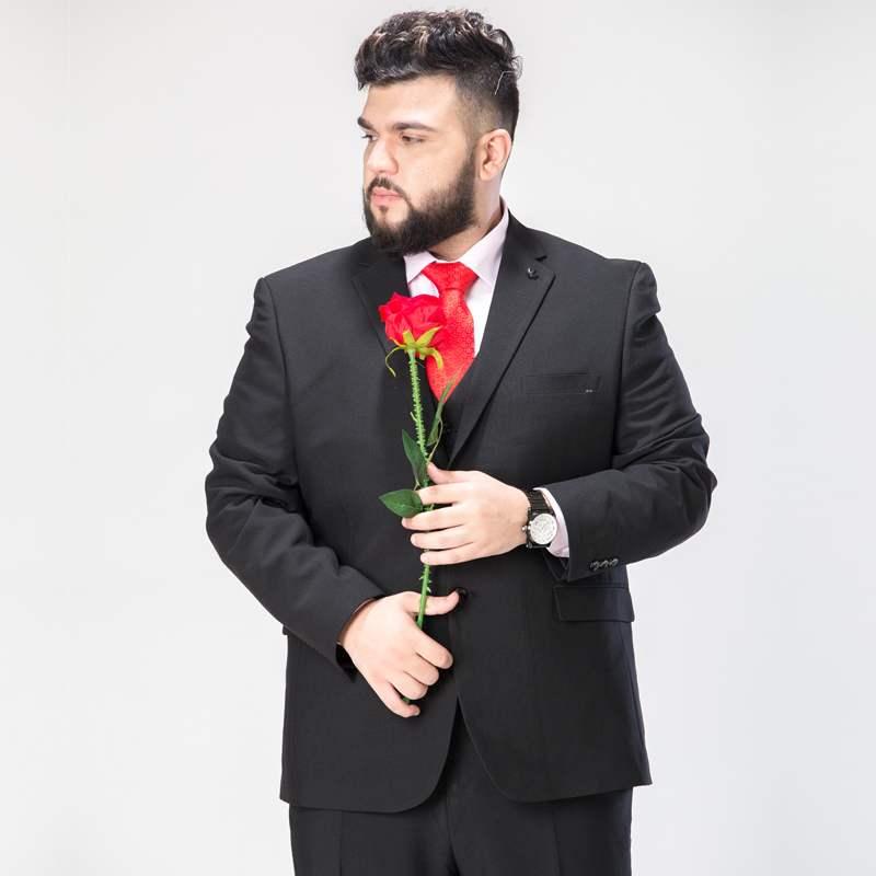 Мужской костюм из 3 предметов Свадебный костюм с брюками жениха размера плюс 5XL 6XL 7XL 8XL 9XL Terno черный синий формальный деловой комплект одежды - 2