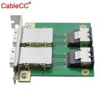 Cablecc Dual Port Internal Mini SAS 4i SFF 8087 to External Mini SAS 4x SFF 8088 PCI Card with PCI Mounting Plate