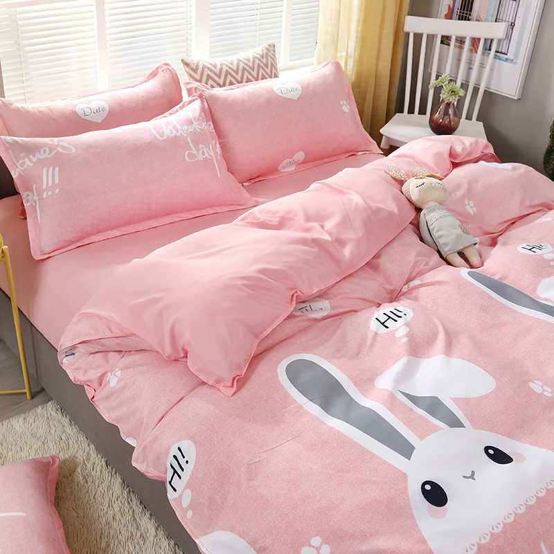 4pcs/set Cartoon Rabbit Kawaii High Quality Bedding Set Bed Linings Duvet Cover Bed Sheet Pillowcases Cover Set 51