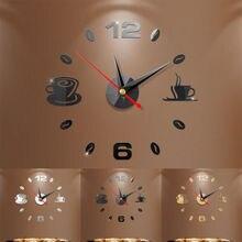 Coffee Cups Kitchen Wall Art Mirror Clock Modern Decoration Sticker 3D DIY
