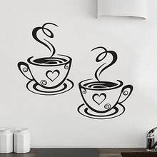 Home Kitchen Restaurant Cafe Tea Wall Sticker Coffee Cups Sticker Wall Decor(China)