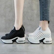 Letnie buty damskie o podwyższonej wewnętrznej wysokości ukryte kliny platformy wsuwane na trampki windy