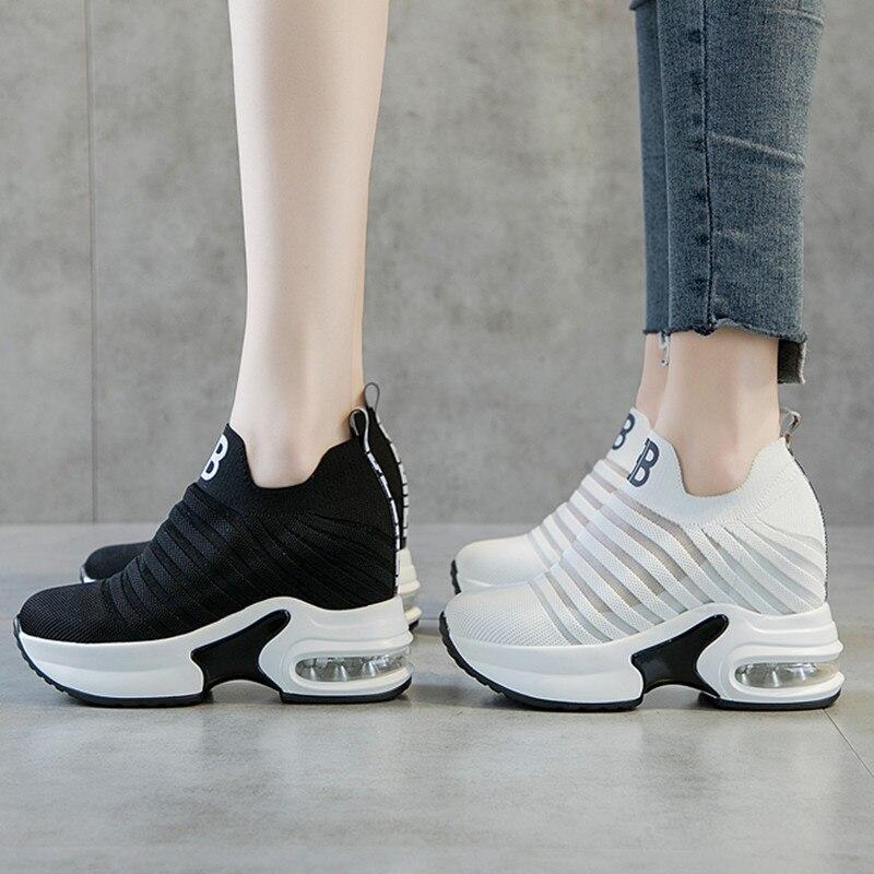 Summer Women's Increased Internal Heightening Shoes Hidden Wedge Platform Slip On Elevator Sneakers
