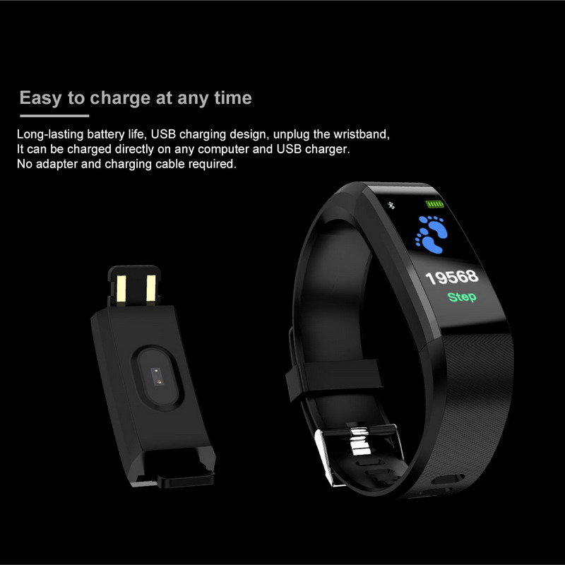 ID115 Pedometer Screen Smart Bracelet Sports Watch Fitness Running Walking Tracker Heart Rate Pedometer Smart Band