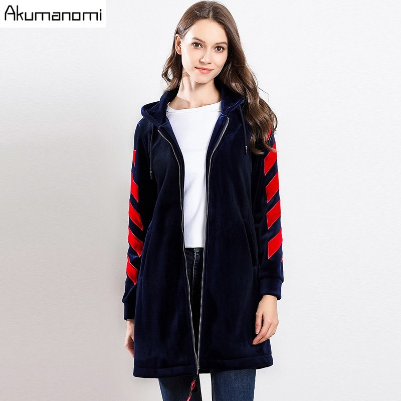 Winter Velvet Warm   Trench   Coat Navy Blue Hooded Full Sleeve Pocket Women's Clothes Spring Autumn Outerwear Tops Plus Size 5XL-L