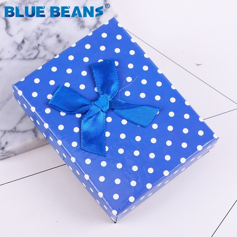 Dot Print Box Jewelry Necklace Earrings Ring Packaging Box Sell Paper Gift Box Jewellery Organizer Sponge Boxes Gift Bangles Bow