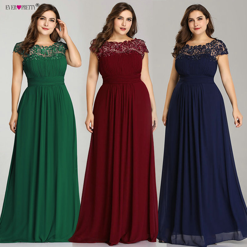 Vestidos Sirena Fiesta Long   Prom     Dresses   Ever Pretty New Plus Size Lace Appliques A-Line Ladies Formal Wedding Party Gowns 2019