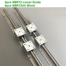 2pcs SBR12 1000 1200 1500mm Fully Supported Linear Rail Slide Shaft Rod With 4pcs SBR12UU Bearing Block for cnc parts(China)