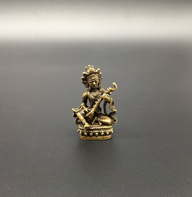 Collectable Chinese Brass Carved Bodhisattva Playing The Piano Nepalese Buddha Statues  Exquisite Small Statues