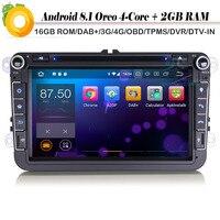 4 ядра 8 DAB + автомобиля gps навигации игрока Авторадио Android 8,1 для VW Golf Passat 5/6 T5 Amarok Vento Wi Fi 4G CD DVR Sat Nav