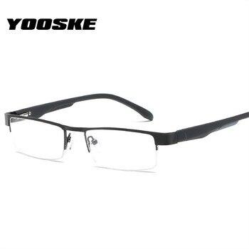 29515ec1cf YOOSKE hombres gafas de lectura, estilo Retro, la hipermetropía de aleación  de Marco medio de gafas anteojos recetados