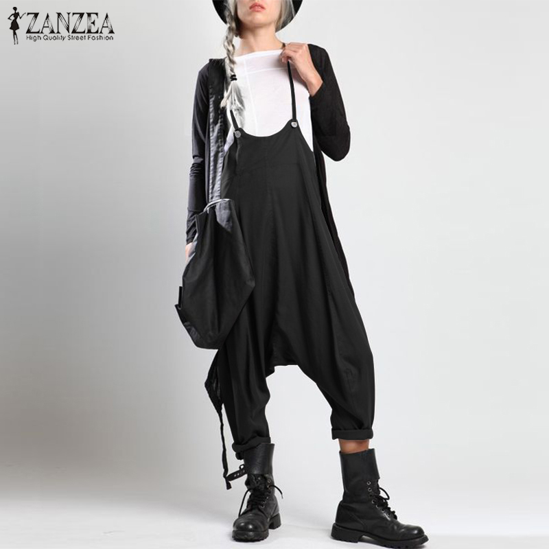 Fashion ZANZEA Women Summer Strappy Solid Drop Crotch Jumpsuits Casual Loose Playsuits Rompers Ladies Party Suspenders Overalls