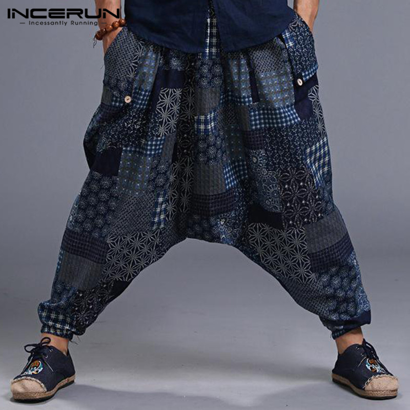 INCERUN Plus Size Men Print Vintage Harem Pants Drop Crotch Cotton Hip-hop Men Women Casual Pants Streetwear Baggy Trousers 2020