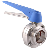 1 1/2 inch 38mm SS304 Stainless Steel Sanitary 1.5 inch Tri Clamp Butterfly Valve Squeeze Trigger for Home brew Dairy Product