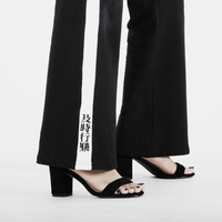 Harajuku embroidery chinese Flare pants women chic vintage striped patchwork female casual pants