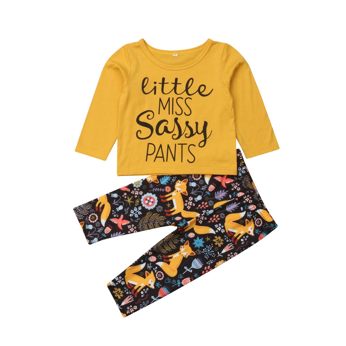 Pudcoco Newborn Baby Girls Boy Cartoon Fox Clothes Set Long Sleeve T-shirt+Pants 2019 Toddler Baby Clothes Tracksuit
