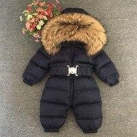 Детские комбинезоны; зимние для новорожденных мальчиков и девочек 90% белая утка вниз плотный Снежный комбинезон для младенцев большим мехо