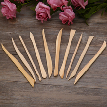 2019 10pcs Wood Wooden Clay Modeling Tools Set Polymer Clay Tools Sculpting DIY Engrave Craft Play dough Handicraft Smooth Tools