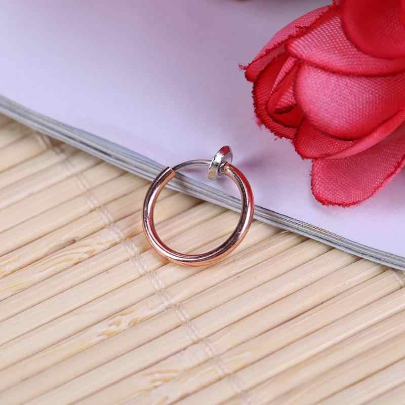 Classic Women Alloy Invisible Without Pierced Hoops Clip-on Fake Nose Lip Ring&Studs Tragus Earrings Piercing Nose Jewelry Gifts
